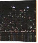 San Diego Skyline Night Wood Print
