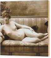 Vintage Nude Postcard Image Wood Print