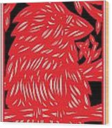 Ailurophile Bird Red White Black Wood Print