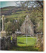 12th Century Cross And Church In Ireland Wood Print