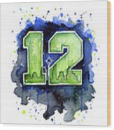 12th Man Seahawks Art Seattle Go Hawks Wood Print