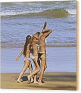 Beach People Wood Print