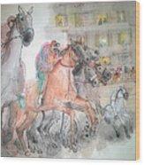 Italian Il Palio Horse Race Album Wood Print
