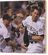 New York Mets V Colorado Rockies Wood Print