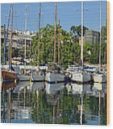 Reflections In Mikrolimano Port Wood Print
