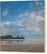 Stunning Sunrise Landscape Over Three Cliffs Bay In Wales Wood Print