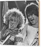 Van Halen - Sammy Hagar With Eddie Van Halen Wood Print