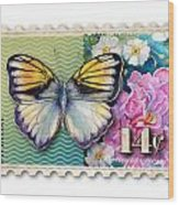 14 Cent Butterfly Stamp Wood Print