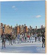 Ice Skating At Hampton Court Palace Ice Rink England Uk Wood Print