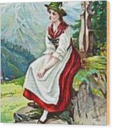 Old French And German Postcards From The Begining Of The 1900 Wood Print
