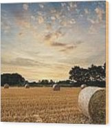 Stunning Summer Landscape Of Hay Bales In Field At Sunset Wood Print