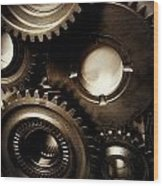Cogs Wood Print by Les Cunliffe