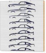 American Stallion Silhouettehistory Blue Wood Print