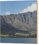 Lake With Mountain Range Wood Print