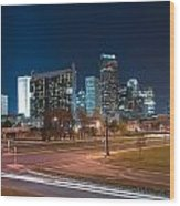 Skyline Of Uptown Charlotte North Carolina At Night. Wood Print