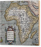 1584 Map Of Mysterious Africa Wood Print