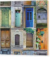 16 Doors In France Collage Wood Print by Georgia Fowler