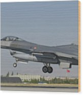 Turkish Air Force F-16 During Exercise Wood Print