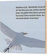Soaring Heron Wood Print