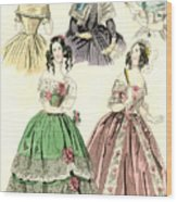 Women's Fashion, 1842 Wood Print