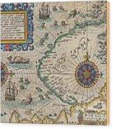 1601 De Bry And De Veer Map Of Nova Zembla And The Northeast Passage Wood Print