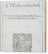 1627 Francis Bacon New Atlantis Frontis Wood Print
