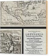 1688 Hennepin First Book And Map Of North America Wood Print