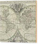 1691 Sanson Map Of The World On Hemisphere Projection Wood Print