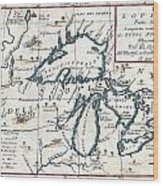 1696 Coronelli Map Of The Great Lakes Most Accurate Map Of The Great Lakes In The 17th Century Geogr Wood Print
