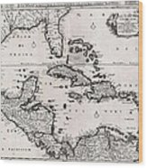 1696 Danckerts Map Of Florida The West Indies And The Caribbean Geographicus Westindies Dankerts 169 Wood Print