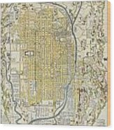 1696 Genroku 9 Early Edo Japanese Map Of Kyoto Japan Wood Print