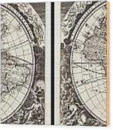 1696 Zahn Map Of The World In Two Hemispheres Geographicus World Zahn 1696 Wood Print