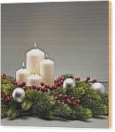 Advent Wreath Wood Print