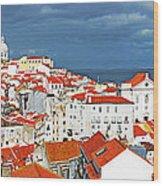 Lisbon Cityscape Wood Print