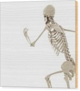 Running Skeleton Wood Print