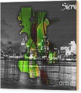 Sacramento Map And Skyline Watercolor Wood Print