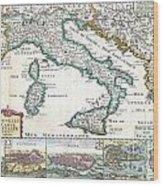 1706 De La Feuille Map Of Italy Wood Print