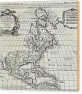 1708 De Lisle Map Of North America Covens And Mortier Ed Geographicus Ameriqueseptentrionale Covensm Wood Print