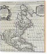 1708 De Lisle Map Of North America Wood Print