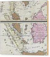 1710 Ottens Map Of Southeast Asia Singapore Thailand Siam Malaysia Sumatra Borneo Wood Print