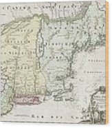 1716 Homann Map Of New England Wood Print
