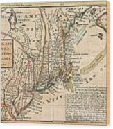 1729 Moll Map Of New York New England And Pennsylvania  Wood Print