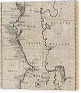 1730 Van Verden Map Of The Caspian Sea Wood Print