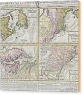 1737 Homann Heirs Map Of New England Georgia And Carolina And Virginia And Maryland Wood Print