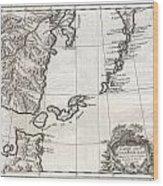 1750 Bellin Map Of The Kuril Islands Wood Print