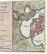 1756 Bellin Map Of Boston Massachusetts Wood Print