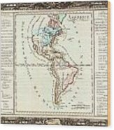 1760 Desnos And De La Tour Map Of North America And South America Geographicus Amerique Desnos 1760 Wood Print