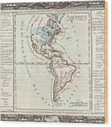 1760 Desnos And De La Tour Map Of North America And South America Wood Print