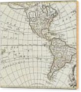 1762 Janvier Map Of North America And South America  Wood Print