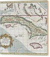 1763 Terreni  Coltellini Map Of Cuba And Jamaica Wood Print